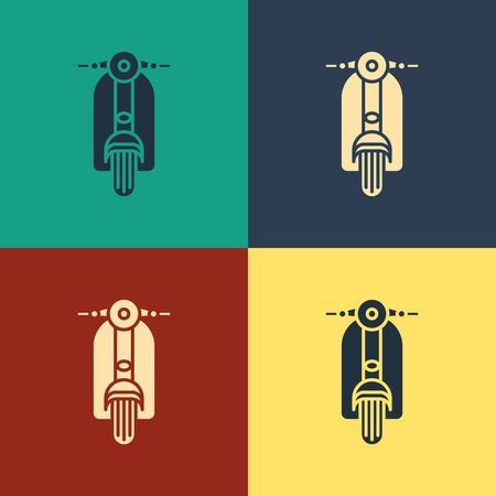 Color Scooter icon isolated on color background. Vintage style drawing. Vector Illustration Иллюстрация