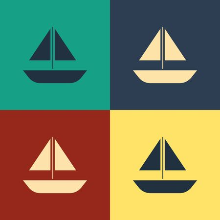 Color Yacht sailboat or sailing ship icon isolated on color background. Sail boat marine cruise travel. Vintage style drawing. Vector Illustration