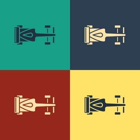 Color Formula race car icon isolated on color background. Vintage style drawing. Vector Illustration