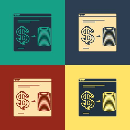Color Online casino chips exchange on stacks of dollars icon isolated on color background. Vintage style drawing. Vector Illustration