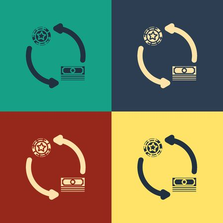 Color Casino chips exchange on stacks of dollars icon isolated on color background. Vintage style drawing. Vector Illustration Фото со стока - 129888647