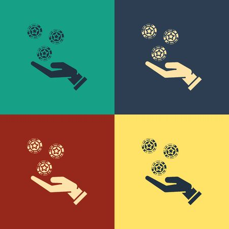 Color Hand holding casino chips icon isolated on color background. Casino gambling. Vintage style drawing. Vector Illustration