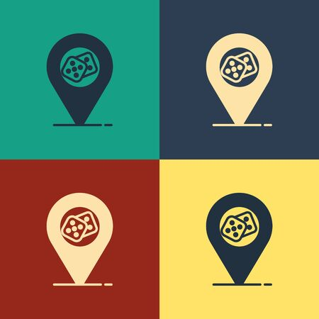 Color Casino location icon isolated on color background. Game dice icon. Vintage style drawing. Vector Illustration Фото со стока - 129886905
