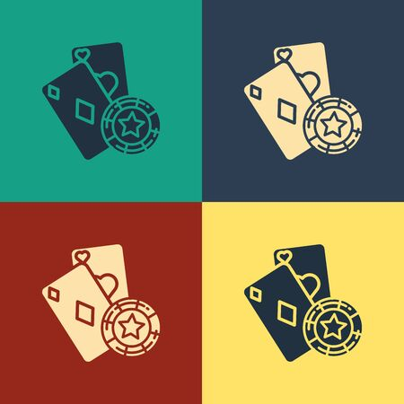 Color Casino chip and playing cards icon isolated on color background. Casino poker. Vintage style drawing. Vector Illustration 写真素材 - 129886925