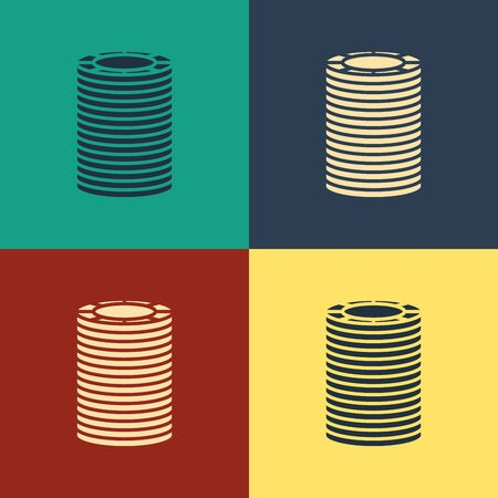Color Casino chips icon isolated on color background. Casino gambling. Vintage style drawing. Vector Illustration