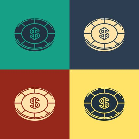 Color Casino chip with dollar symbol icon isolated on color background. Casino gambling. Vintage style drawing. Vector Illustration Фото со стока - 129886926
