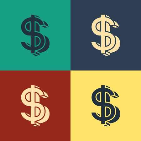 Color Dollar symbol icon isolated on color background. Cash and money, wealth, payment symbol. Casino gambling. Vintage style drawing. Vector Illustration Фото со стока - 129886928