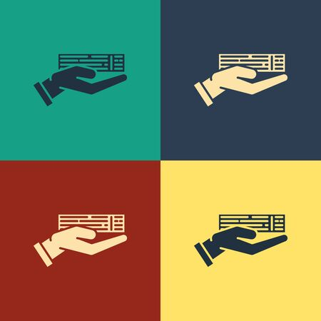 Color Hand holding deck of playing cards icon isolated on color background. Casino gambling. Vintage style drawing. Vector Illustration Фото со стока - 129886927