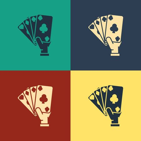 Color Hand holding playing cards icon isolated on color background. Casino game design. Vintage style drawing. Vector Illustration