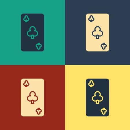 Color Playing card with clubs symbol icon isolated on color background. Casino gambling. Vintage style drawing. Vector Illustration 写真素材 - 129886932