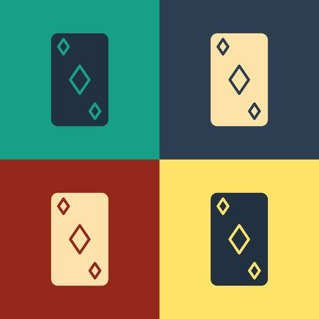 Color Playing card with diamonds symbol icon isolated on color background. Casino gambling. Vintage style drawing. Vector Illustration Фото со стока - 129886931
