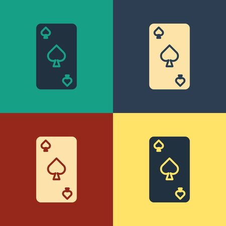 Color Playing card with spades symbol icon isolated on color background. Casino gambling. Vintage style drawing. Vector Illustration Фото со стока - 129886933