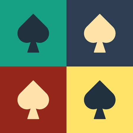 Color Playing card with spades symbol icon isolated on color background. Casino gambling. Vintage style drawing. Vector Illustration 写真素材 - 129886934