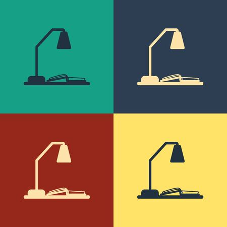 Color Workplace with table lamp and open book icon isolated on color background. Table office lamp. Vintage style drawing. Vector Illustration
