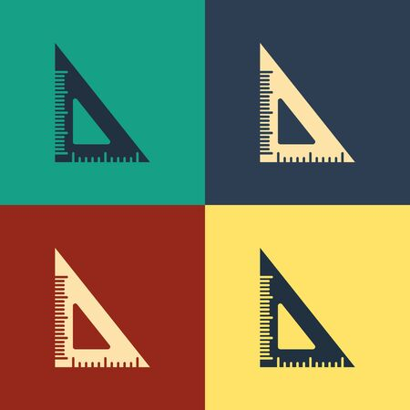 Color Triangular ruler icon isolated on color background. Straightedge symbol. Geometric symbol. Vintage style drawing. Vector Illustration