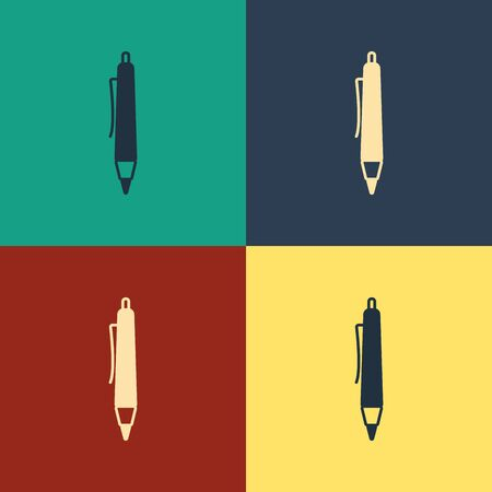 Color Pen icon isolated on color background. Vintage style drawing. Vector Illustration  イラスト・ベクター素材