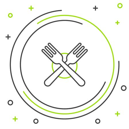 Black and green line Crossed fork icon isolated on white background. Cutlery symbol. Colorful outline concept. Vector Illustration