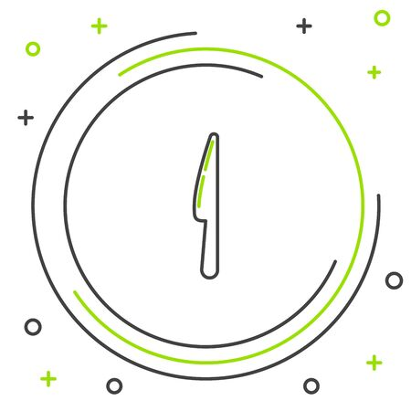 Black and green line Knife icon isolated on white background. Cutlery symbol. Colorful outline concept. Vector Illustration