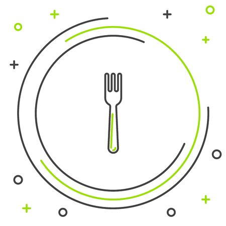 Black and green line Fork icon isolated on white background. Cutlery symbol. Colorful outline concept. Vector Illustration