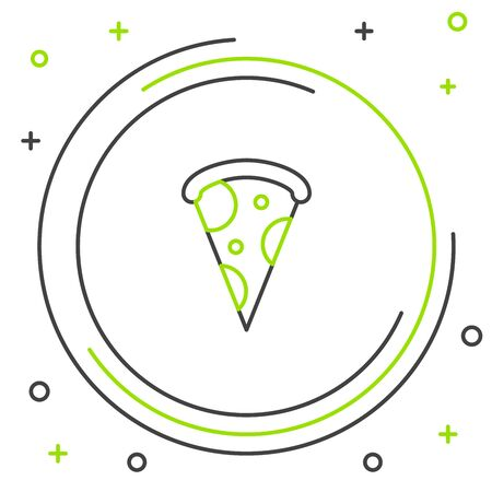 Black and green line Slice of pizza icon isolated on white background. Fast food menu. Colorful outline concept. Vector Illustration Фото со стока - 129887027