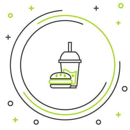 Black and green line Paper glass with drinking straw and burger icon isolated on white background. Soda aqua drink sign. Hamburger, cheeseburger sandwich. Colorful outline concept. Vector Illustration