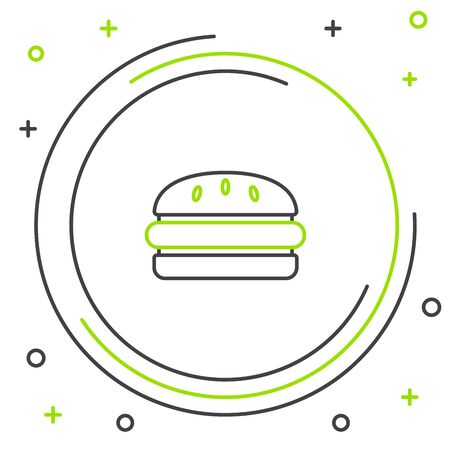 Black and green line Burger icon isolated on white background. Hamburger icon. Cheeseburger sandwich sign. Fast food menu. Colorful outline concept. Vector Illustration  イラスト・ベクター素材