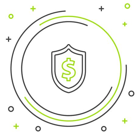 Black and green line Shield with dollar symbol icon isolated on white background. Security shield protection. Money security concept. Colorful outline concept. Vector Illustration