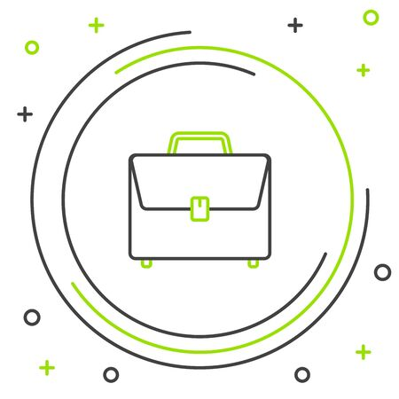 Black and green line Briefcase icon isolated on white background. Business case sign. Business portfolio. Colorful outline concept. Vector Illustration