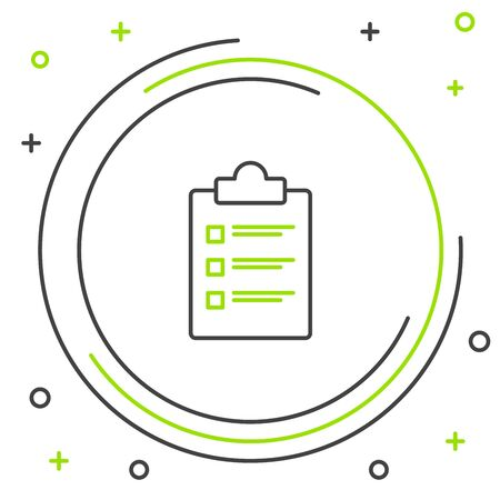 Black and green line Clipboard with checklist icon isolated on white background. Control list symbol. Survey poll or questionnaire feedback form. Colorful outline concept. Vector Illustration