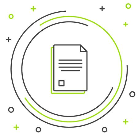 Black and green line File document icon isolated on white background. Checklist icon. Business concept. Colorful outline concept. Vector Illustration Stockfoto - 129901877