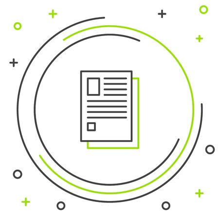 Black and green line File document icon isolated on white background. Checklist icon. Business concept. Colorful outline concept. Vector Illustration Stock Illustratie