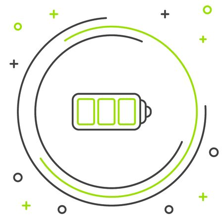 Black and green line Battery charge level indicator icon isolated on white background. Colorful outline concept. Vector Illustration