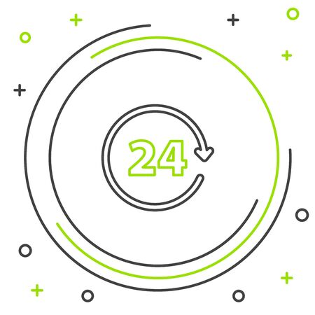 Black and green line Clock 24 hours icon isolated on white background. All day cyclic icon. 24 hours service symbol. Colorful outline concept. Vector Illustration  イラスト・ベクター素材