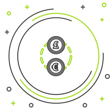 Black and green line Money exchange icon isolated on white background. Euro and Pound Sterling cash transfer symbol. Banking currency sign. Colorful outline concept. Vector Illustration