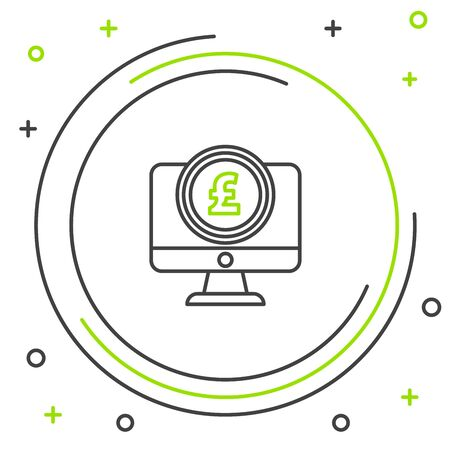 Black and green line Computer monitor with pound sterling symbol icon isolated on white background. Online shopping concept. Earnings in the Internet. Colorful outline concept. Vector Illustration