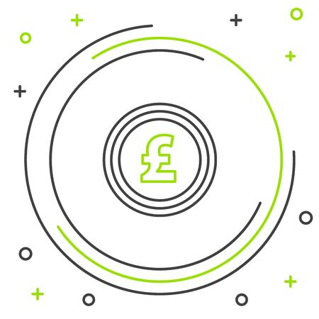 Black and green line Coin money with pound sterling symbol icon isolated on white background. Banking currency sign. Cash symbol. Colorful outline concept. Vector Illustration  イラスト・ベクター素材