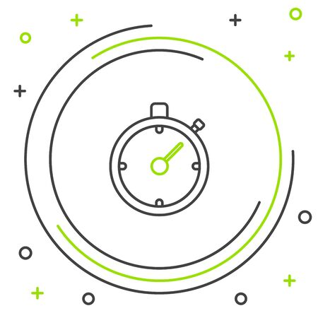 Black and green line Stopwatch icon isolated on white background. Time timer sign. Chronometer sign. Colorful outline concept. Vector Illustration