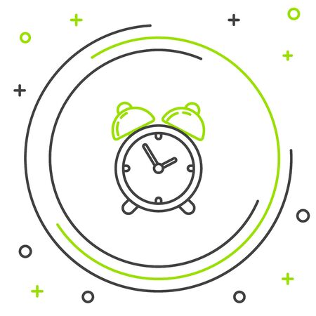 Black and green line Alarm clock icon isolated on white background. Wake up, get up concept. Time sign. Colorful outline concept. Vector Illustration 向量圖像