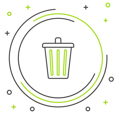 Black and green line Trash can icon isolated on white background. Garbage bin sign. Recycle basket icon. Office trash icon. Colorful outline concept. Vector Illustration