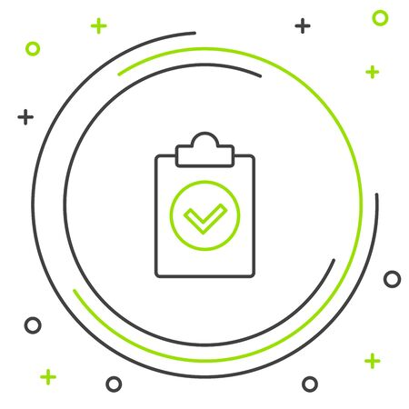 Black and green line Completed task icon isolated on white background. Compliance inspection approved. Checklist sign. Certified document symbol. Colorful outline concept. Vector Illustration Ilustração