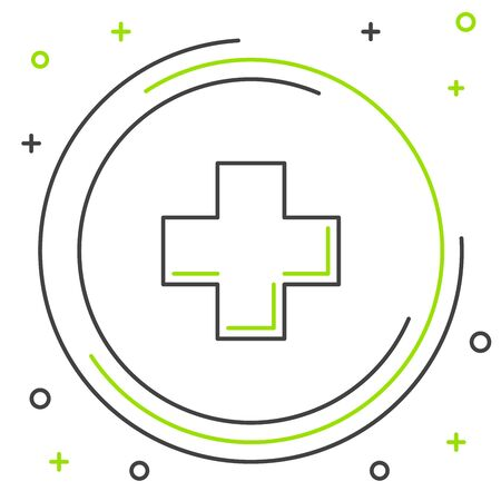 Black and green line Cross hospital medical icon isolated on white background. First aid. Diagnostics symbol. Medicine and pharmacy sign. Colorful outline concept. Vector Illustration Ilustracja