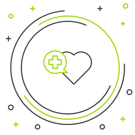 Black and green line Heart with a cross icon isolated on white background. First aid. Healthcare, medical and pharmacy sign. Colorful outline concept. Vector Illustration