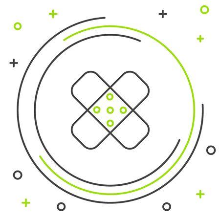 Black and green line Crossed bandage plaster icon isolated on white background. Medical plaster, adhesive bandage, flexible fabric bandage. Colorful outline concept. Vector Illustration