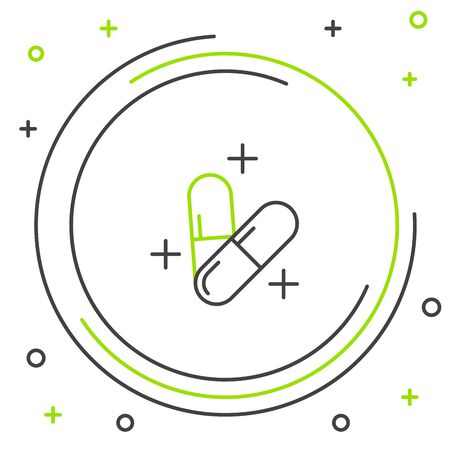 Black and green line Medicine pill or tablet icon isolated on white background. Capsule pill and drug sign. Pharmacy design. Colorful outline concept. Vector Illustration