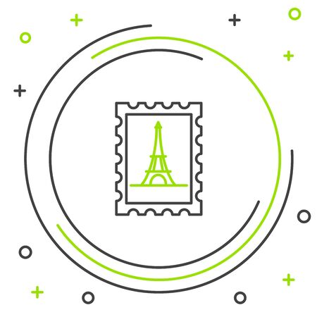 Black and green line Postal stamp and Eiffel tower icon isolated on white background. Colorful outline concept. Vector Illustration