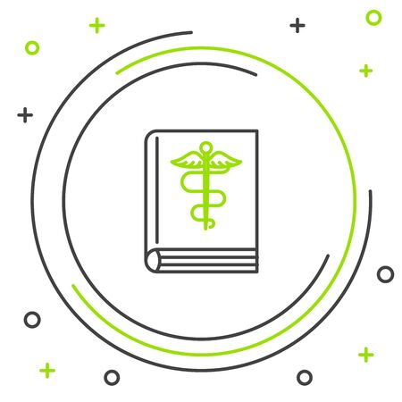 Black and green line Medical book icon isolated on white background. Colorful outline concept. Vector Illustration