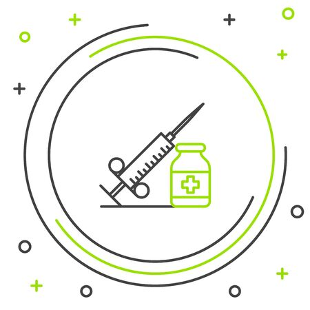 Black and green line Medical syringe with needle and vial or ampoule icon isolated on white background. Vaccination, injection, vaccine, insulin concept. Colorful outline concept. Vector Illustration Illusztráció