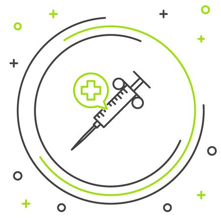 Black and green line Medical syringe with needle icon isolated on white background. Vaccination, injection, vaccine, insulin concept. Colorful outline concept. Vector Illustration Illusztráció