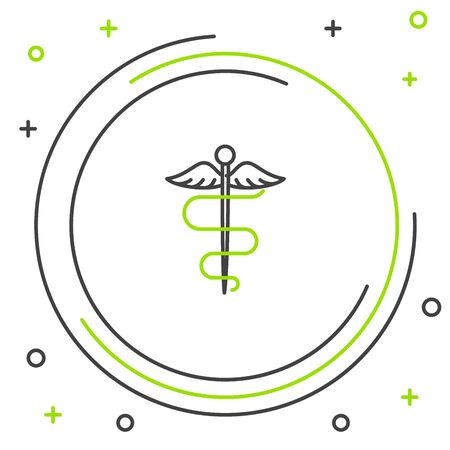 Black and green line Caduceus snake medical symbol icon on white background. Medicine and health care. Emblem for drugstore or medicine, pharmacy. Colorful outline concept. Vector Illustration Stock Illustratie