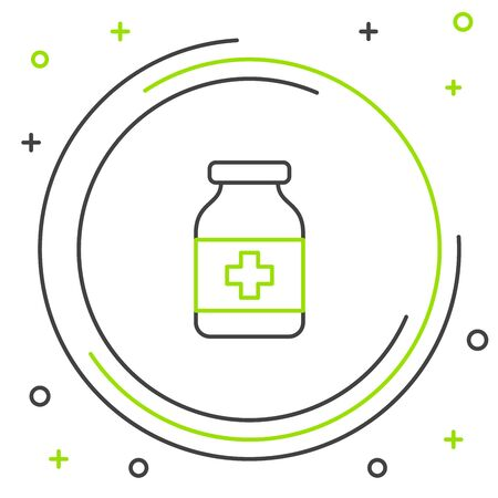 Black and green line Medicine bottle icon isolated on white background. Bottle pill sign. Pharmacy design. Colorful outline concept. Vector Illustration Иллюстрация